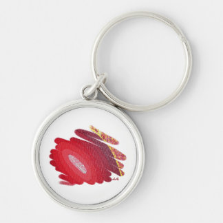 Passion Chakra Red Spirals Round Metal Keychain
