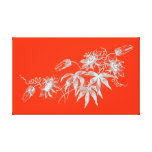 Passion Flower Etching in White on Orange Gallery Wrapped Canvas