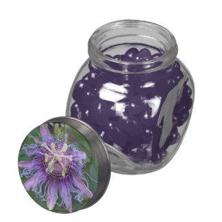 Passion Flower Glass Candy Jar