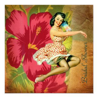 passion flower hawaii retro beach bridal shower invitation