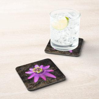 Passion Flower on Wood Cork Coaster