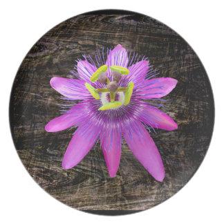 Passion Flower over Wood Grain Melamine Plate