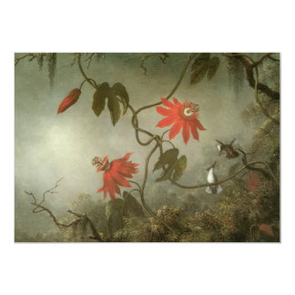 Passion Flowers and Hummingbirds by Martin J Heade 5x7 Paper Invitation Card
