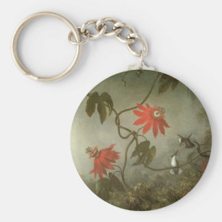 Passion Flowers and Hummingbirds by Martin J Heade Basic Round Button Keychain