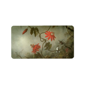 Passion Flowers and Hummingbirds by Martin J Heade Label
