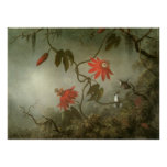Passion Flowers and Hummingbirds by Martin J Heade Print