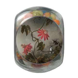 Passion Flowers and Hummingbirds Glass Candy Jars