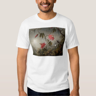 Passion Flowers with Hummingbirds by Martin Johnso T-Shirt