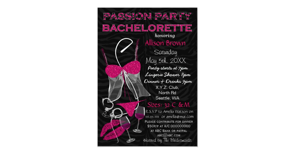 Passion Party Bachelorette, Lingerie Shower Invite | Zazzle.com