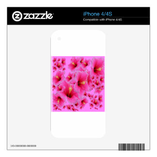 passion pink hibiscus flowers decal for the iPhone 4