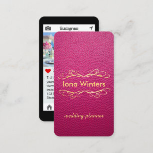 Iphone business cards zazzle passion pink mock leather instagram style business card colourmoves