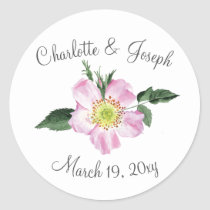Passion Pink Watercolor Flowers Wedding invitation Classic Round Sticker