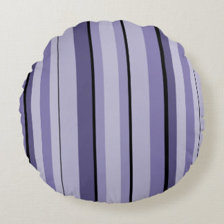 Passion Purple and Black Pin Stripes Round Pillow