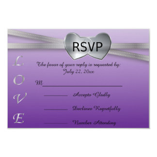 Passion Purple and Silver Wedding Love Hearts Card