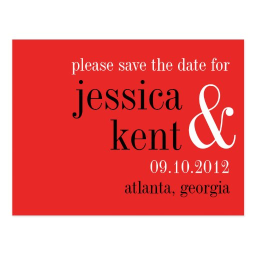 Passion red black typography modern save the date postcard