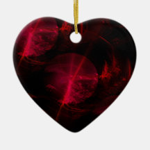 Passion red heart Double-Sided heart ceramic christmas ornament