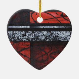 PASSION WAVES OF RED SQUARE LOVE DESIGN CERAMIC ORNAMENT