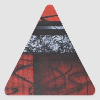PASSION WAVES OF RED SQUARE LOVE DESIGN TRIANGLE STICKER