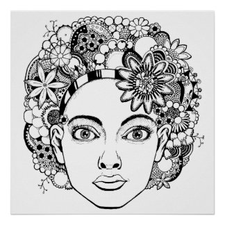 """""""Passion"""" Woman's Face Drawing with Flowers Poster"""