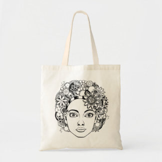 """Passion"" Woman's Face Drawing with Flowers Tote"