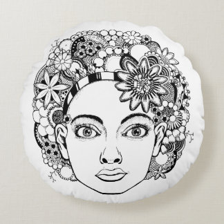 """Passion"" Woman's Face Floral Round Cushion"