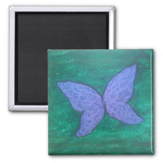 Passionate Butterfly Wings Purple Blue Green 2 Inch Square Magnet