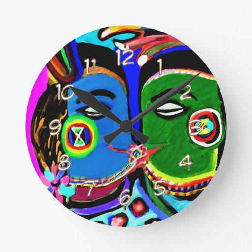 Passionate Kiss - Vintage India Cave Art Style Wall Clocks