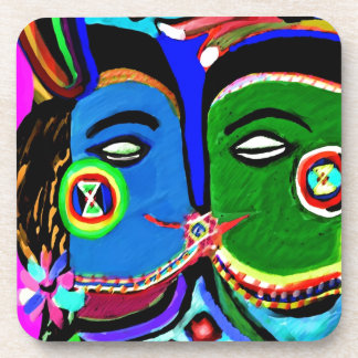 Passionate Kiss - Vintage India Cave Art Style Coaster