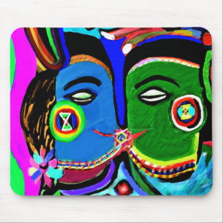 Passionate Kiss - Vintage India Cave Art Style Mousepads
