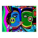 Passionate Kiss - Vintage India Cave Art Style Post Cards
