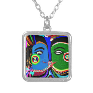 Passionate Kiss - Vintage India Cave Art Style Square Pendant Necklace