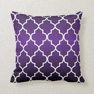 Passionate Plum Purple and White Quatrefoil Pillow