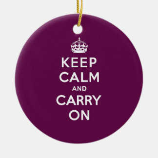 Passionate Purple Keep Calm and Carry On Ceramic Ornament