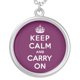 Passionate Purple Keep Calm and Carry On Round Pendant Necklace