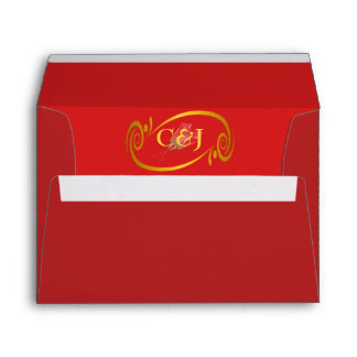 Passionate Red Gold Framed Initials Rose Lined Envelope
