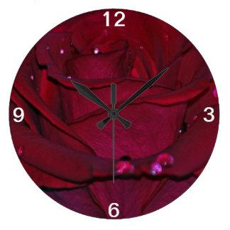 Passionate Red Rose Large Clock