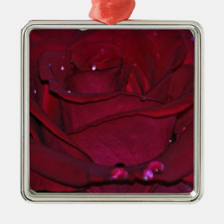 Passionate Red Rose Metal Ornament