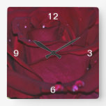 Passionate Red Rose Square Wall Clocks