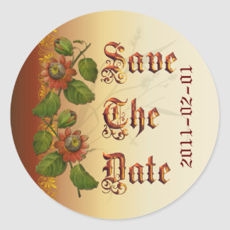 Passionflower Wedding Rust Save the Date Classic Round Sticker