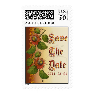Passionflower Wedding Rust Save the Date Postage
