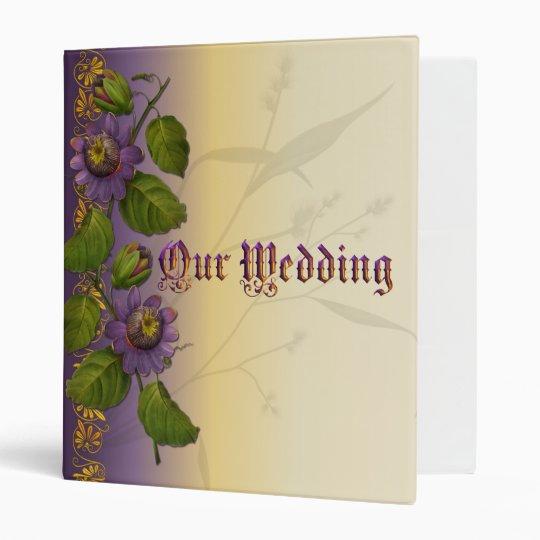 Passionflower Wedding Suite  Purple 3 Ring Binder