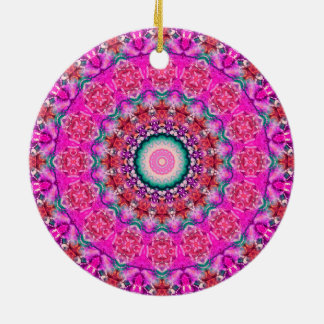 """Passions II"" Pink Valentine's Day Mandala Double-Sided Ceramic Round Christmas Ornament"