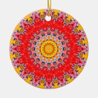 """Passions III"" Red Yellow Valentine's Day Mandala Double-Sided Ceramic Round Christmas Ornament"