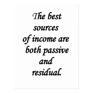 passive and residual sources of income postcard