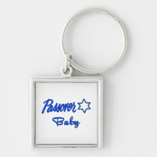 Passover Baby Blue Silver-Colored Square Keychain