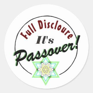 Passover Bitter Herbs Full Disclosure Classic Round Sticker
