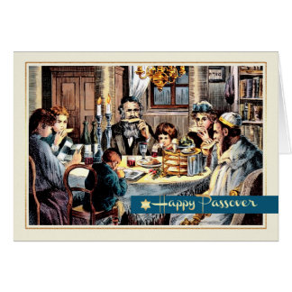 Passover Blessings. Vintage Seder Scene Cards
