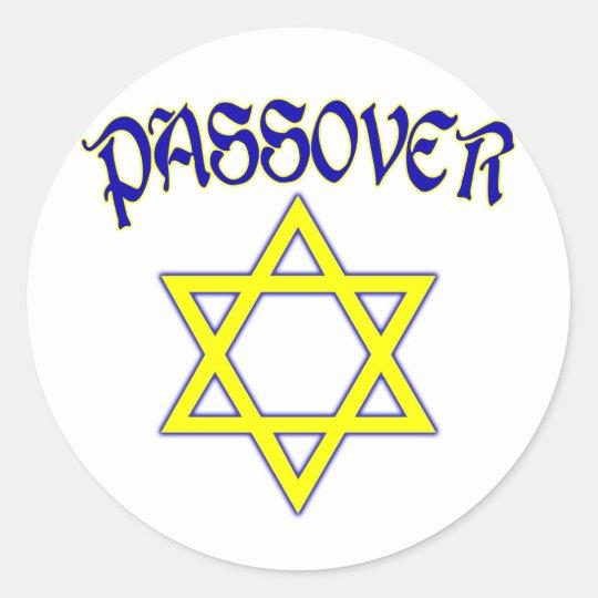Passover Blue & Gold Classic Round Sticker