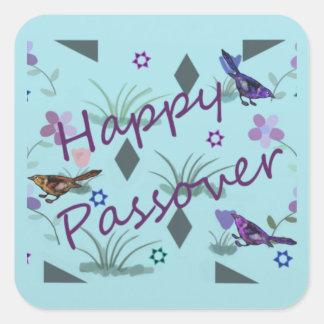 Passover feliz del jardín de la naturaleza pegatina cuadrada