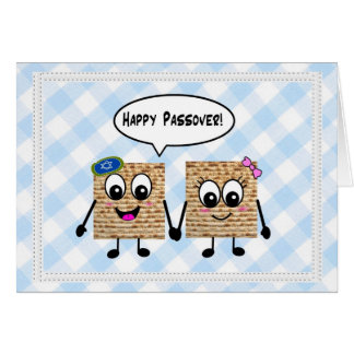 Passover feliz Matzot lindo en la guinga azul Tarjeta